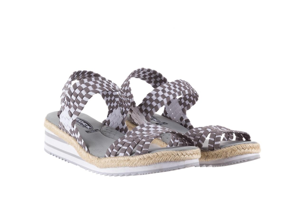 Sandały rock balnea white grey, biały/szary, materiał  - koturny - buty damskie - kobieta 7