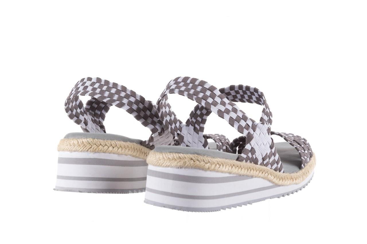 Sandały rock balnea white grey, biały/szary, materiał  - koturny - buty damskie - kobieta 9