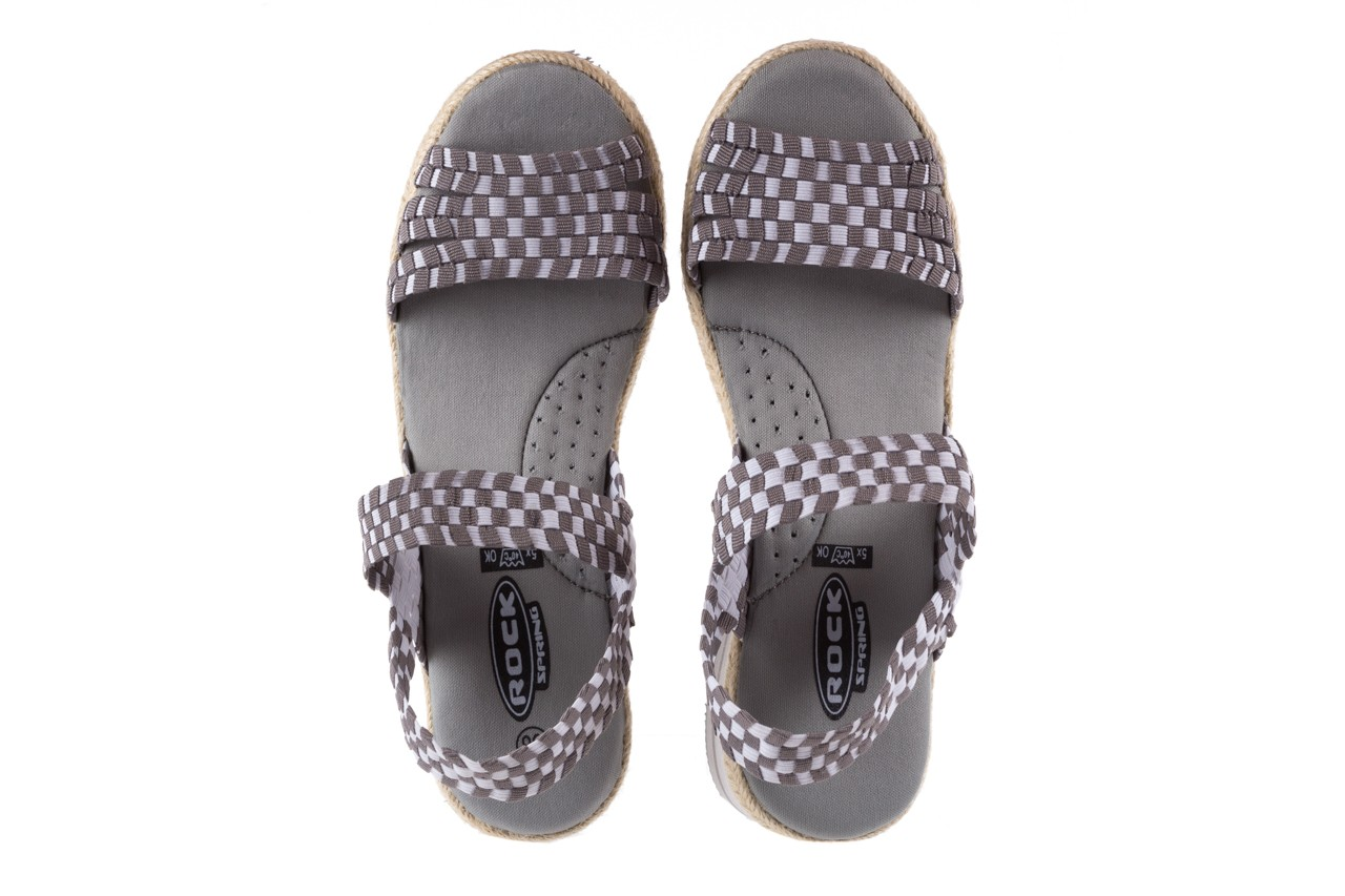Sandały rock balnea white grey, biały/szary, materiał  - koturny - buty damskie - kobieta 10