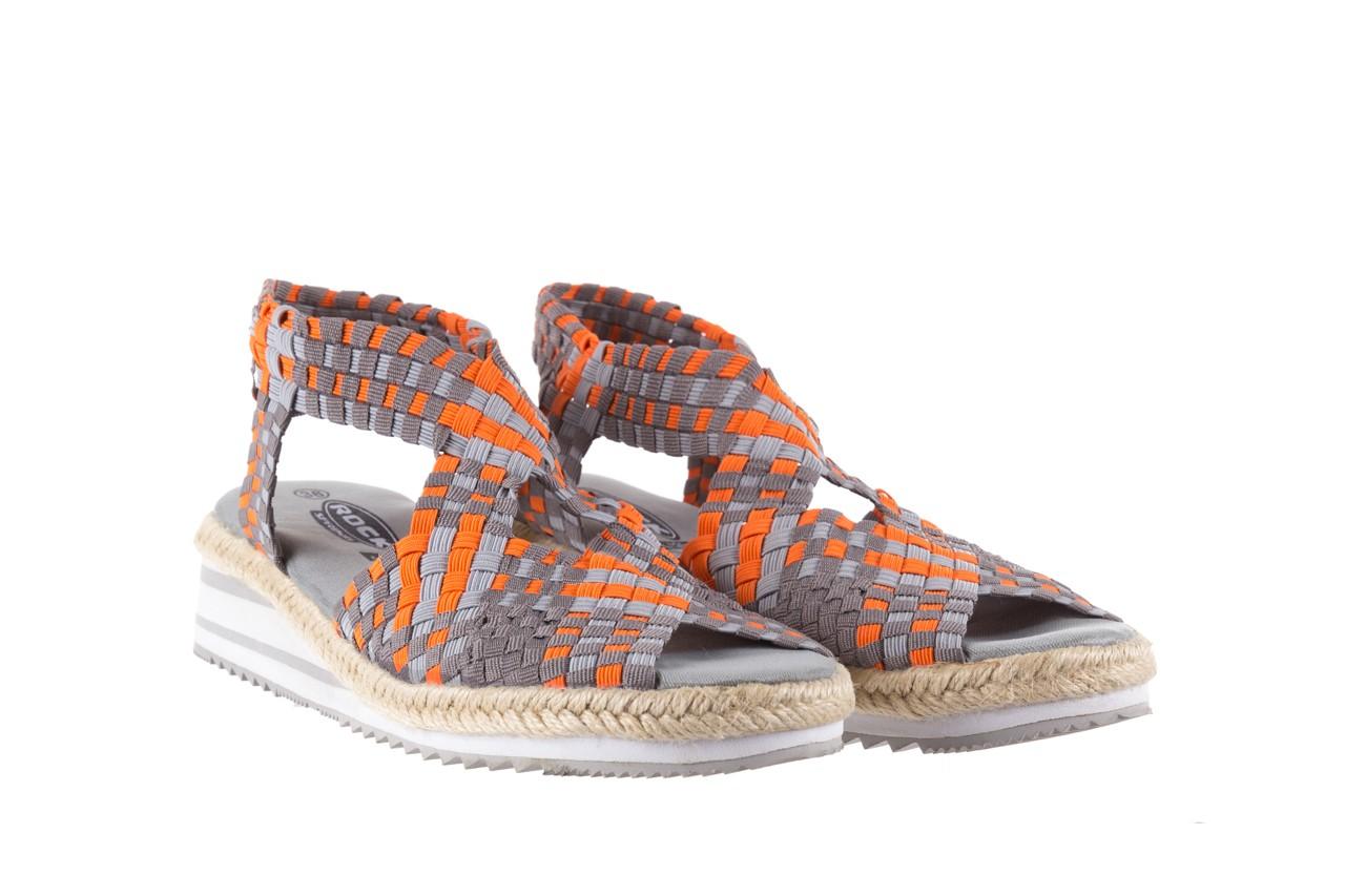 Sandały rock dafoa grey orange dark grey, pomarańczowy/szary, materiał  - rock - nasze marki 7