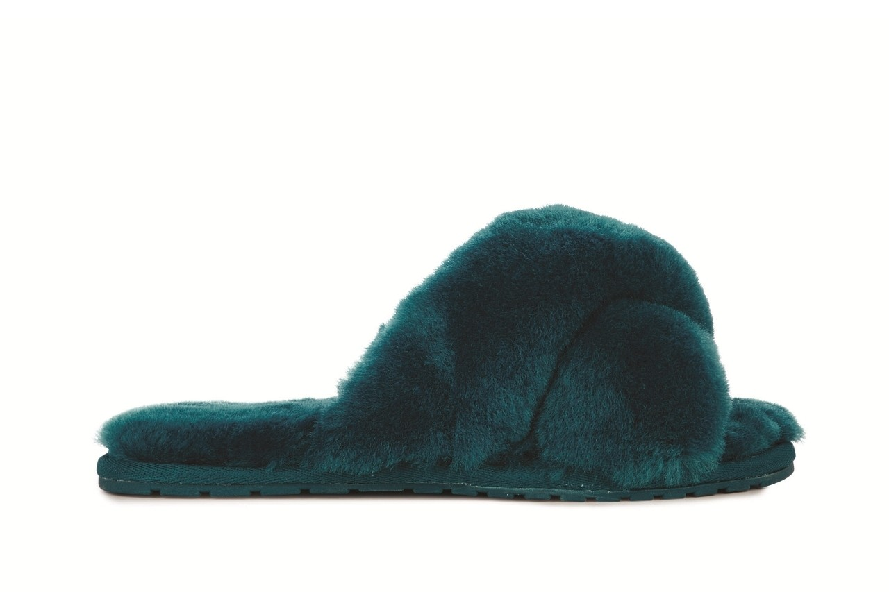 Klapki emu mayberry teal, futro naturalne - emu - nasze marki 2