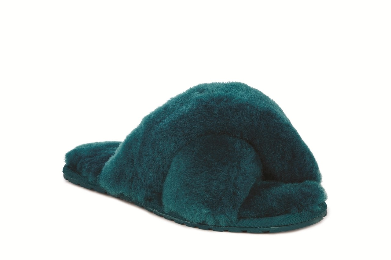 Klapki emu mayberry teal, futro naturalne - emu - nasze marki 3