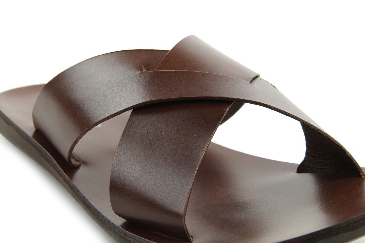 Klapki tresor-110 50945 tan, brąz, skóra naturalna - klapki - dla niego - sale 11