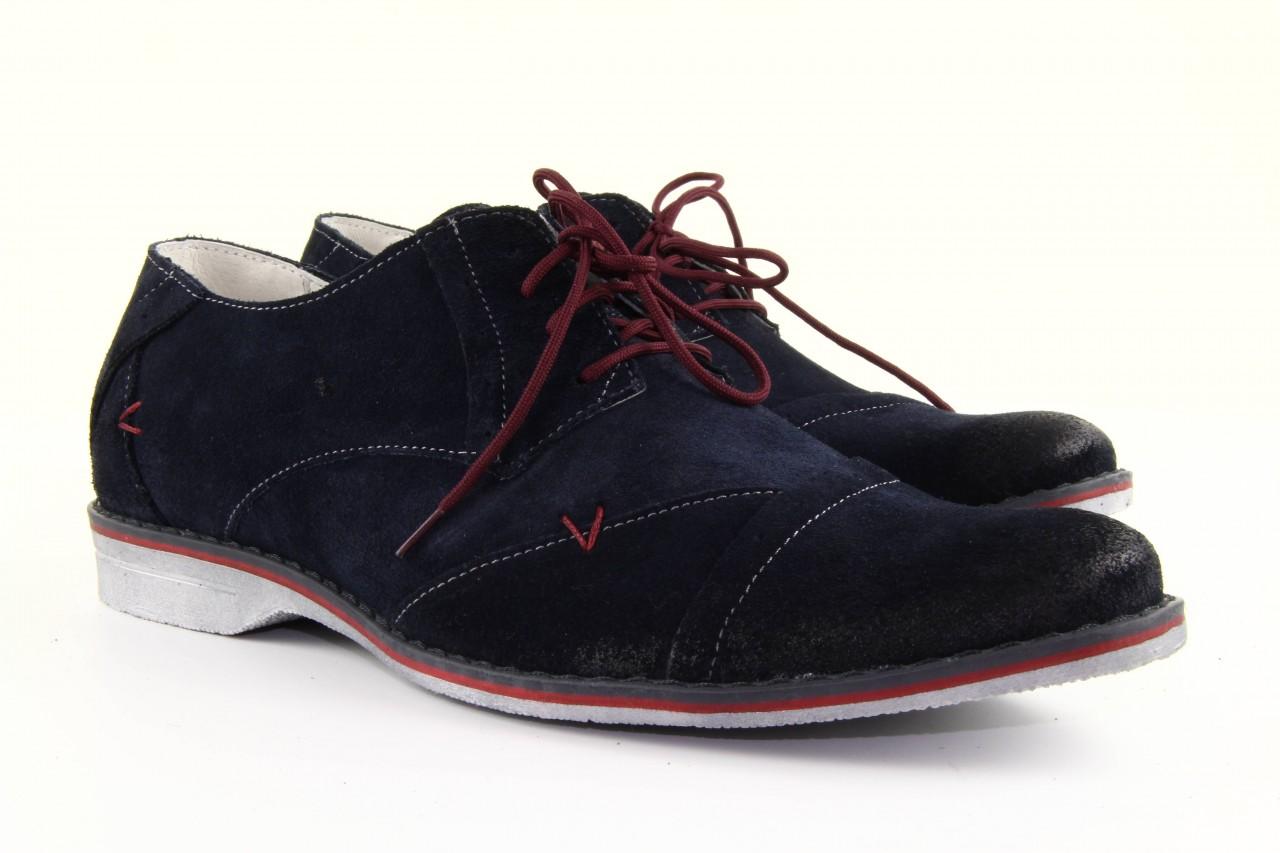 Półbuty tresor-rk 667 welur blue, granat, skóra naturalna  - obuwie wizytowe - dla niego - sale 11