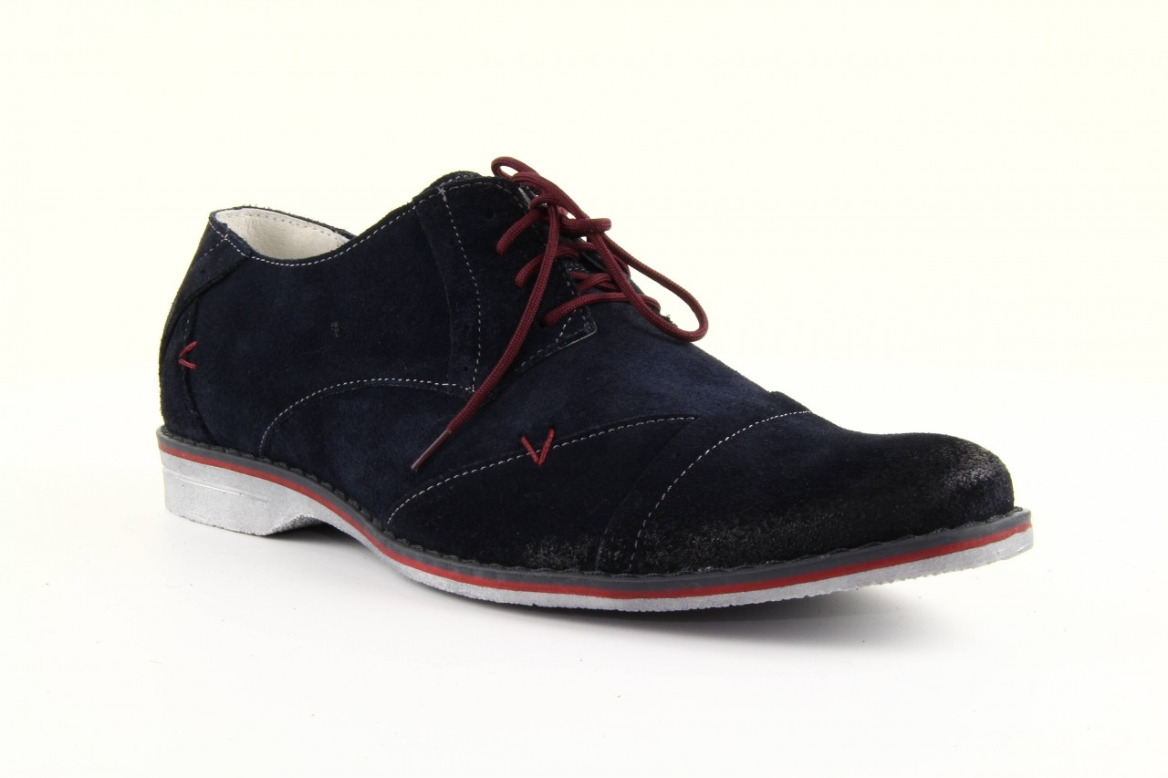 Półbuty tresor-rk 667 welur blue, granat, skóra naturalna  - obuwie wizytowe - dla niego - sale 13