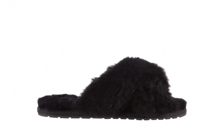Klapki emu mayberry black, czarny, futro naturalne - kobieta