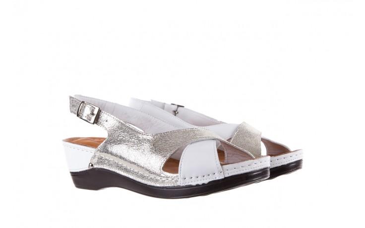 Sandały bayla-112 0158-58 white platinium, biały/srebrny, skóra naturalna  - bayla - nasze marki 1