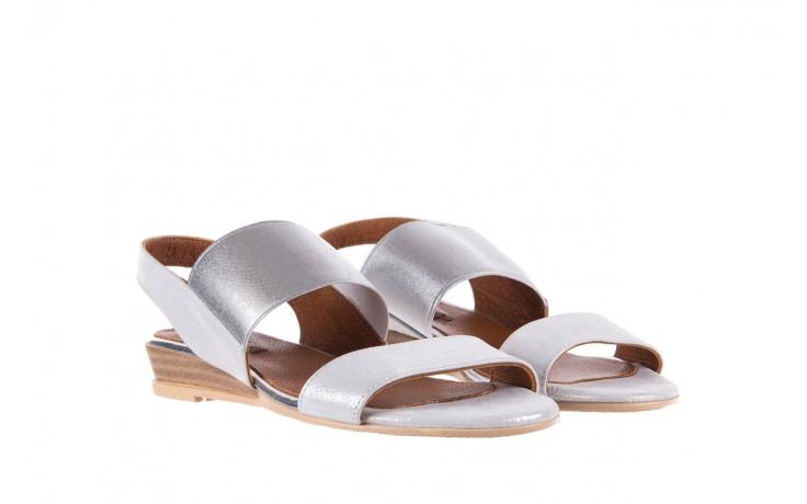 Sandały bayla-112 0410-120 white satin, biały, skóra naturalna  - koturny - buty damskie - kobieta 1