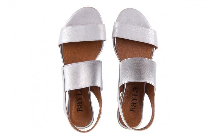 Sandały bayla-112 0410-120 white satin, biały, skóra naturalna  - koturny - buty damskie - kobieta 4