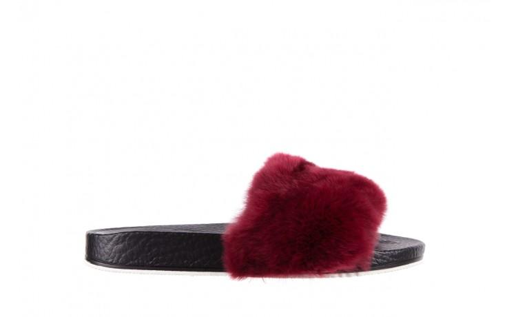 Klapki bayla-112 0479-17194 burgundy furry, bordo/czarny, skóra naturalna  - bayla - nasze marki