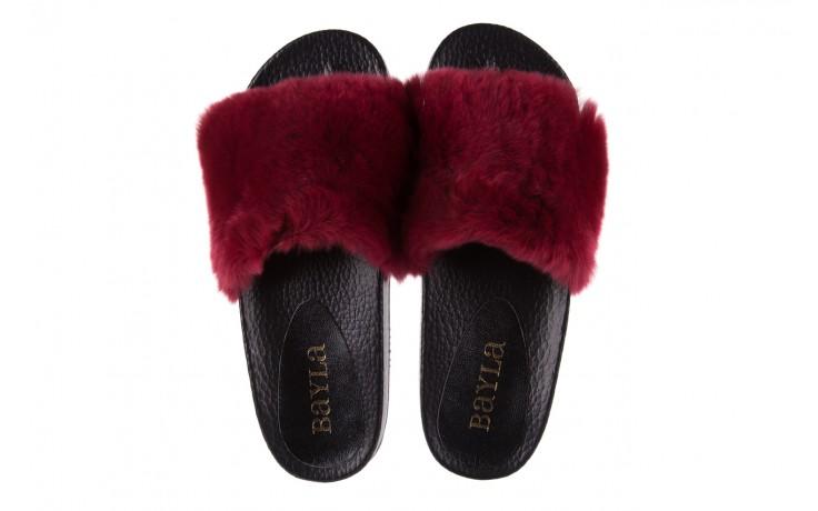 Klapki bayla-112 0479-17194 burgundy furry, bordo/czarny, skóra naturalna  - piankowe - klapki - buty damskie - kobieta 4