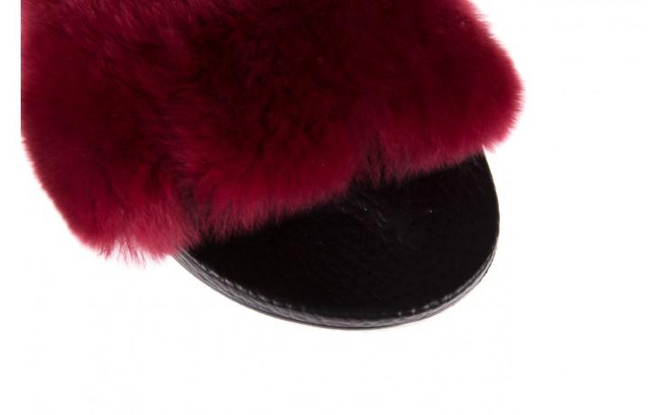 Klapki bayla-112 0479-17194 burgundy furry, bordo/czarny, skóra naturalna  - piankowe - klapki - buty damskie - kobieta 6