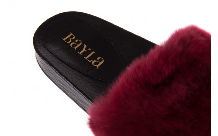 Klapki bayla-112 0479-17194 burgundy furry, bordo/czarny, skóra naturalna  - bayla - nasze marki 5