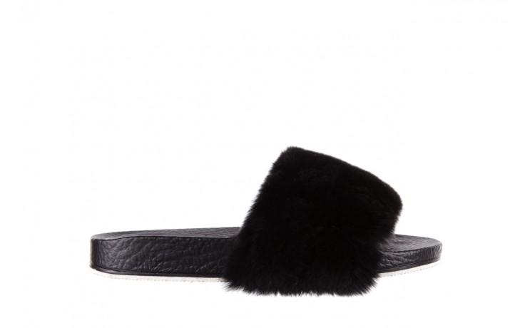 Klapki bayla-112 0479-17194 black furry, czarny, skóra naturalna  - piankowe - klapki - buty damskie - kobieta