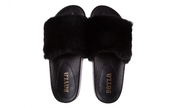 Klapki bayla-112 0479-17194 black furry, czarny, skóra naturalna  - piankowe - klapki - buty damskie - kobieta 4