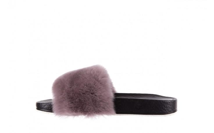 Klapki bayla-112 0479-17194 mink furry, czarny/szary, skóra naturalna - klapki - letnie hity cenowe 2