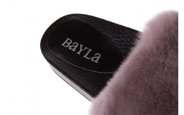 Klapki bayla-112 0479-17194 mink furry, czarny/szary, skóra naturalna - bayla - nasze marki 5