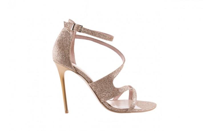 Sandały bayla-097 11 złote sandały na szpilce z glitterem, materiał  - kolekcja ślubna - trendy - kobieta