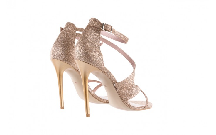 Sandały bayla-097 11 złote sandały na szpilce z glitterem, materiał  - bayla - nasze marki 3