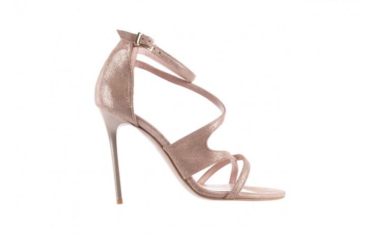 Sandały bayla-097 11 szampańskie sandały na szpilce, skóra naturalna