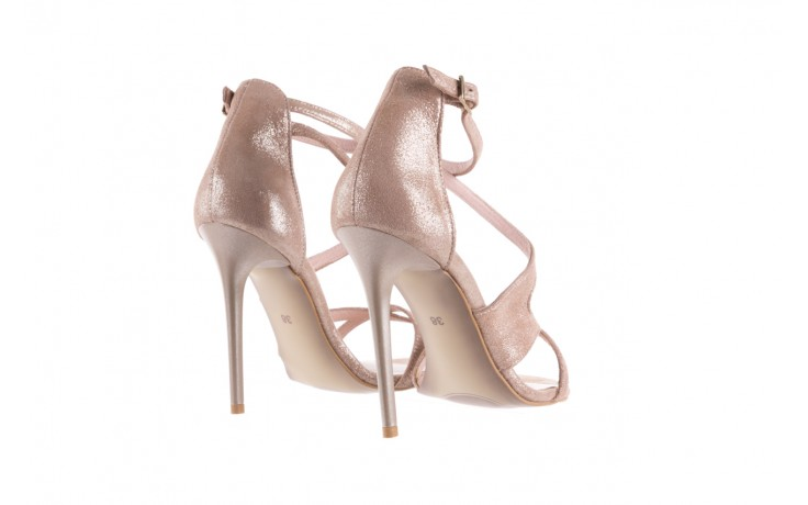 Sandały bayla-097 11 szampańskie sandały na szpilce, skóra naturalna 3