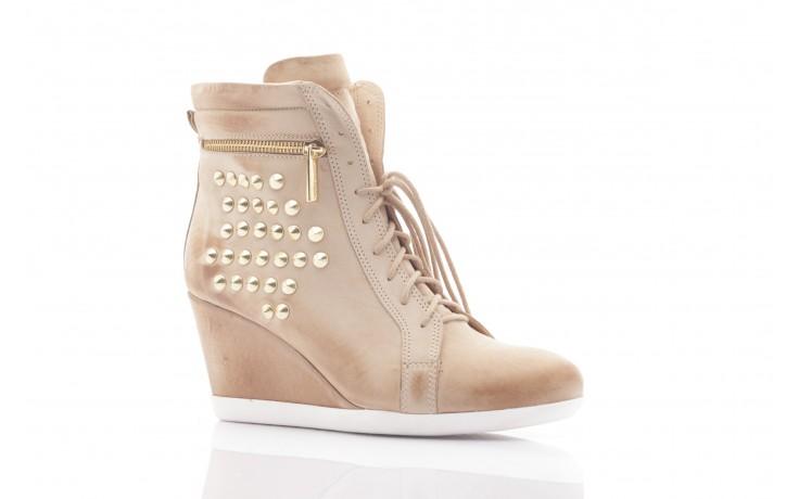 Sneakersy top but 805-4 beż, skóra naturalna