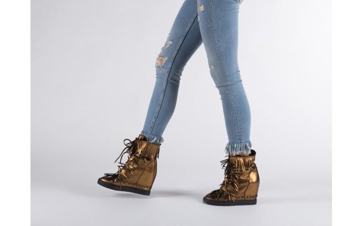 Botki bayla-136 g655 skóra złota, skóra naturalna  - na platformie - botki - buty damskie - kobieta 7