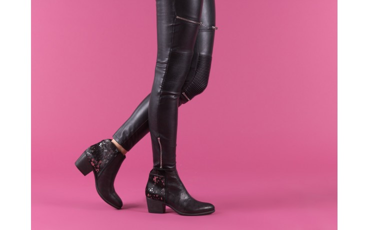 Botki bayla-131 7705 nero, czarny, skóra naturalna  - worker boots - trendy - kobieta 6