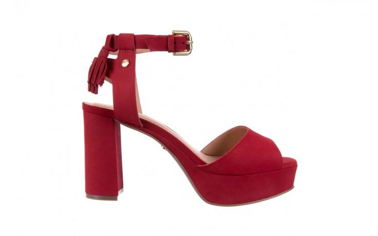 Sandały bayla-067 129006 nobuck red velvet, czerwony, skóra naturalna  - bayla - nasze marki