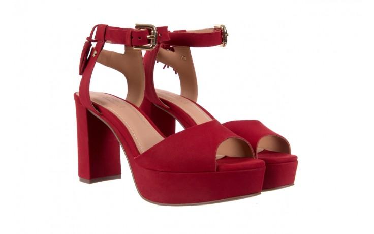 Sandały bayla-067 129006 nobuck red velvet, czerwony, skóra naturalna  - bayla - nasze marki 1