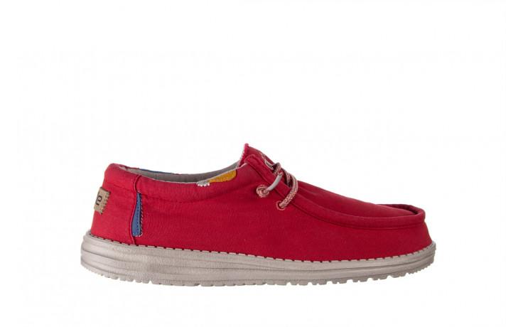 Półbuty heydude wally washed molten lava 003208, czerwony, materiał - trendy - mężczyzna