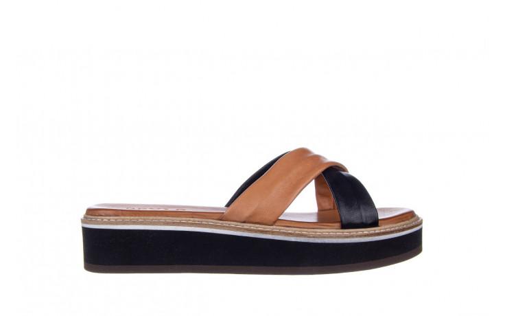 Klapki bayla-161 105 6004 black tan 161214, czarny/ brąz, skóra naturalna  - klapki - buty damskie - kobieta