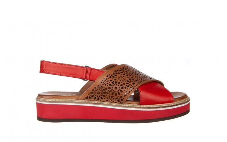 Sandały bayla-161 105 2014 coconut red 161212, czerwony/ brąz, skóra naturalna  - skórzane - sandały - buty damskie - kobieta