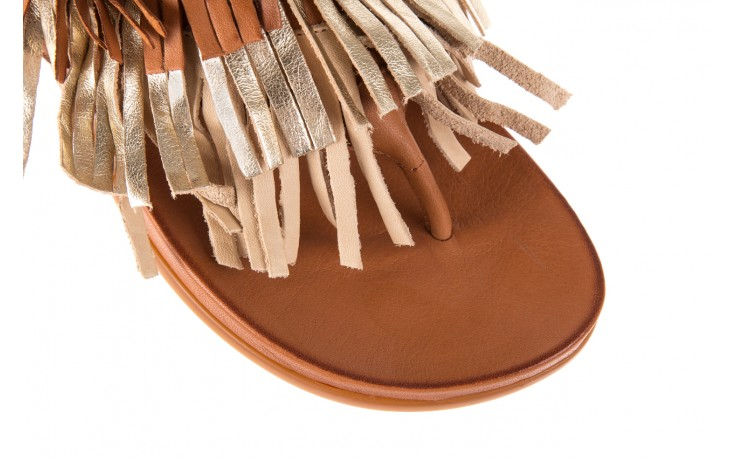 Klapki bayla-163 17-192 nr 1 coconut combi, brąz, skóra naturalna  - japonki - klapki - buty damskie - kobieta 5