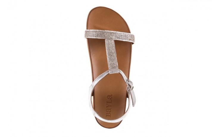 Sandały bayla-163 17-301 silver, srebrne, skóra naturalna 4
