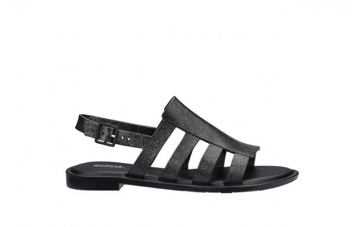 Sandały melissa boemia iii ad shine black glitter, czarny, guma - gumowe - sandały - buty damskie - kobieta