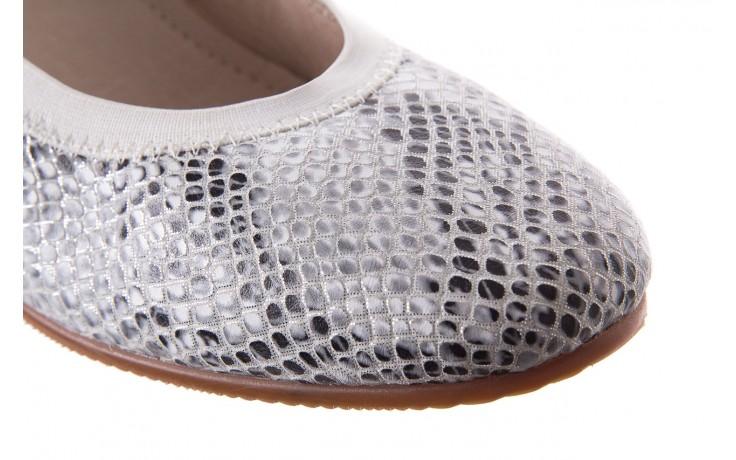 Baleriny bayla-018 1711-5 off white 018528, biały/srebrny, skóra naturalna  - hity cenowe 5