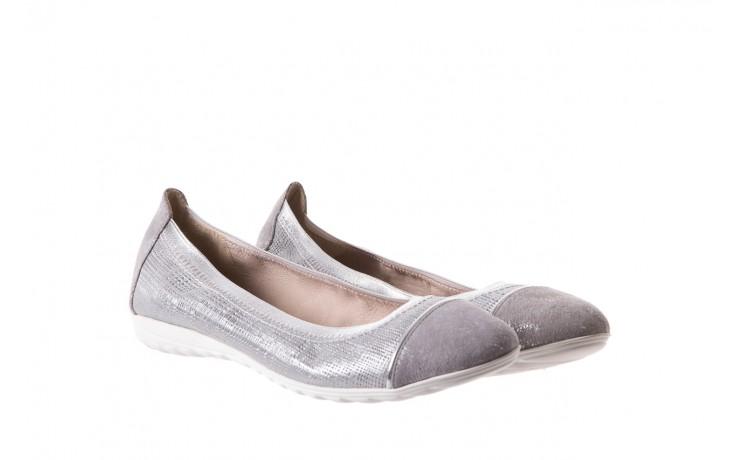 Baleriny bayla-018 1831-5 lt. grey lt. grey silver 018533, szary/srebrny, skóra naturalna 1