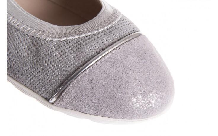 Baleriny bayla-018 1831-5 lt. grey lt. grey silver 018533, szary/srebrny, skóra naturalna 5
