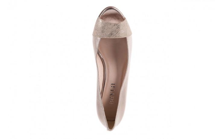 Baleriny bayla-018 1517-9 champagne lt. gold 018511, złoty, skóra naturalna  - na koturnie - czółenka - buty damskie - kobieta 4