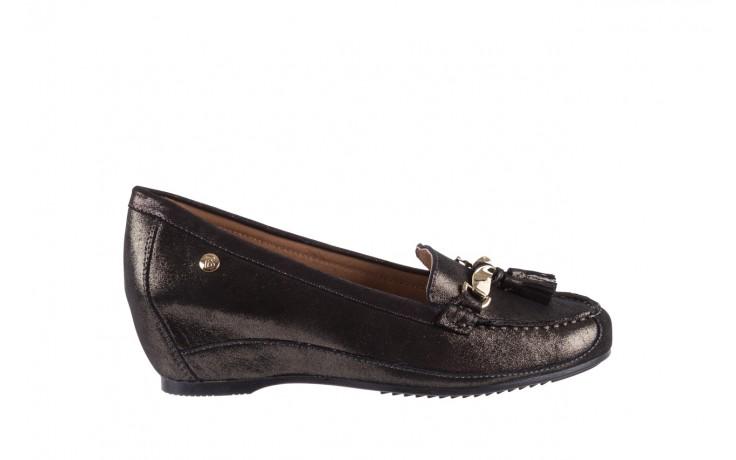 Mokasyny bayla-018 1647-35 grey, czarny, skóra naturalna  - na koturnie - półbuty - buty damskie - kobieta