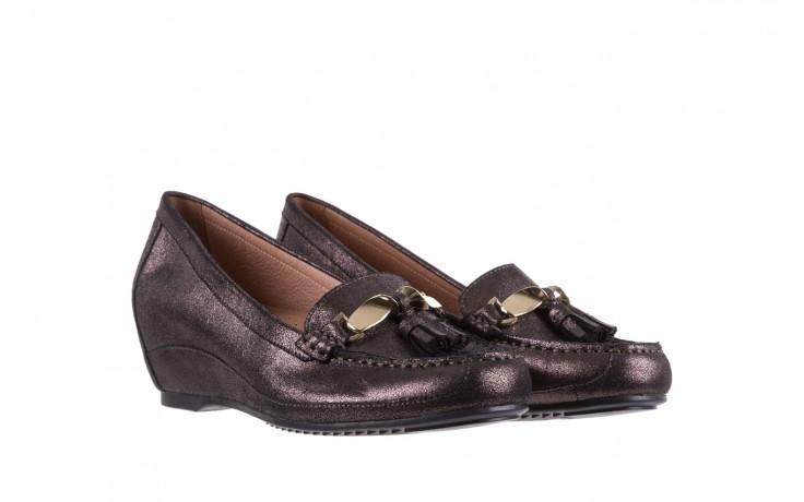 Mokasyny bayla-018 1647-35 grey, czarny, skóra naturalna  - na koturnie - półbuty - buty damskie - kobieta 1