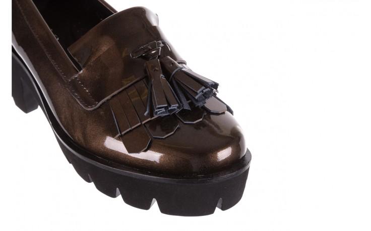 Mokasyny bayla-018 16471-x23 bronze, brąz, skóra naturalna lakierowana  - na obcasie - półbuty - buty damskie - kobieta 5