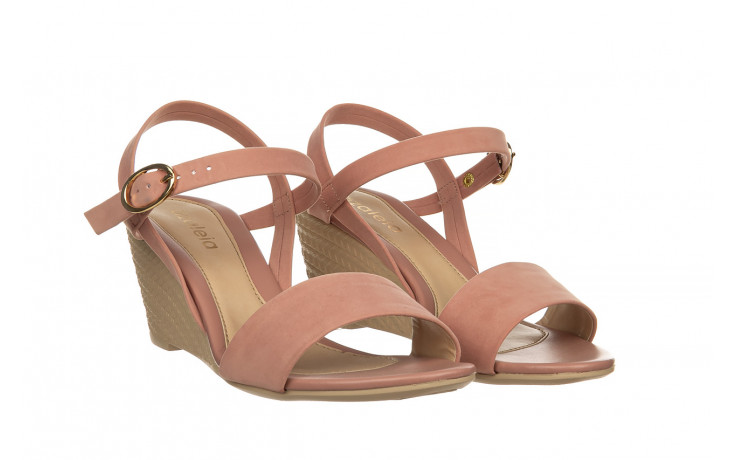Sandały azaleia 680 242 suede old pink, róż, materiał  - koturny - buty damskie - kobieta 1