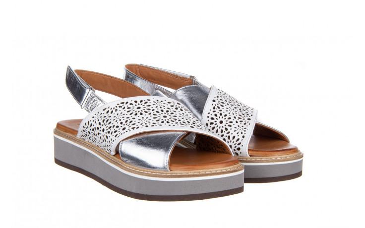 Sandały bayla-161 105 2014 white silver 161213, srebrny/ biały, skóra naturalna  - bayla - nasze marki 1