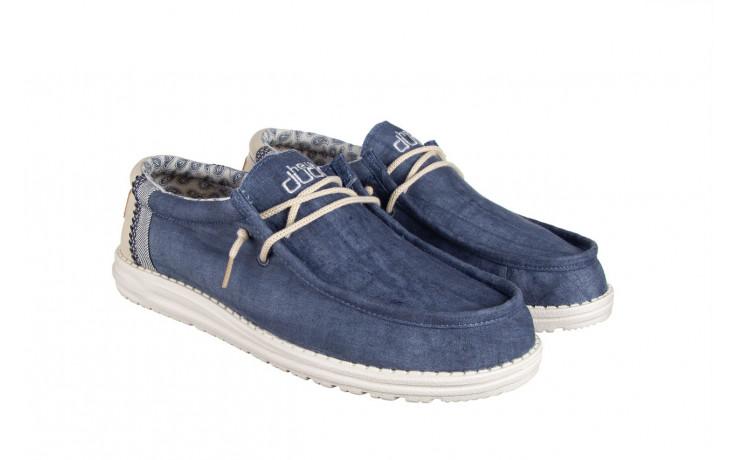Półbuty heydude wally linen natural blue 003204, granat, materiał  - trendy - mężczyzna 1