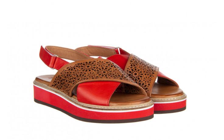 Sandały bayla-161 105 2014 coconut red 161212, czerwony/ brąz, skóra naturalna  - skórzane - sandały - buty damskie - kobieta 1