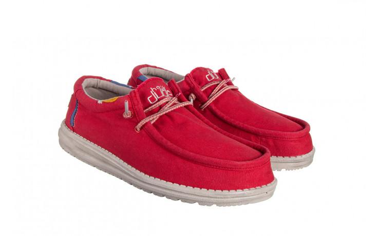 Półbuty heydude wally washed molten lava 003208, czerwony, materiał - trendy - mężczyzna 1