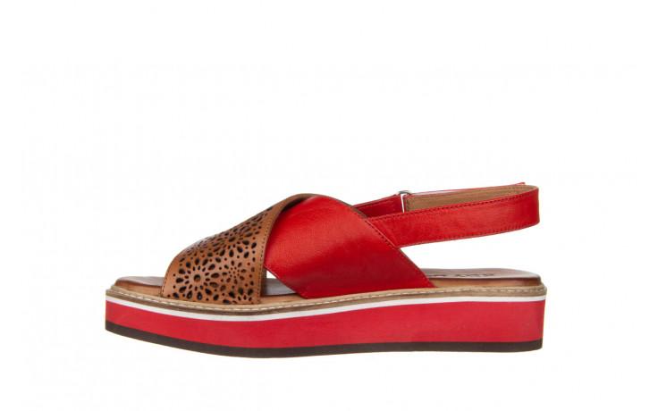 Sandały bayla-161 105 2014 coconut red 161212, czerwony/ brąz, skóra naturalna  - skórzane - sandały - buty damskie - kobieta 2