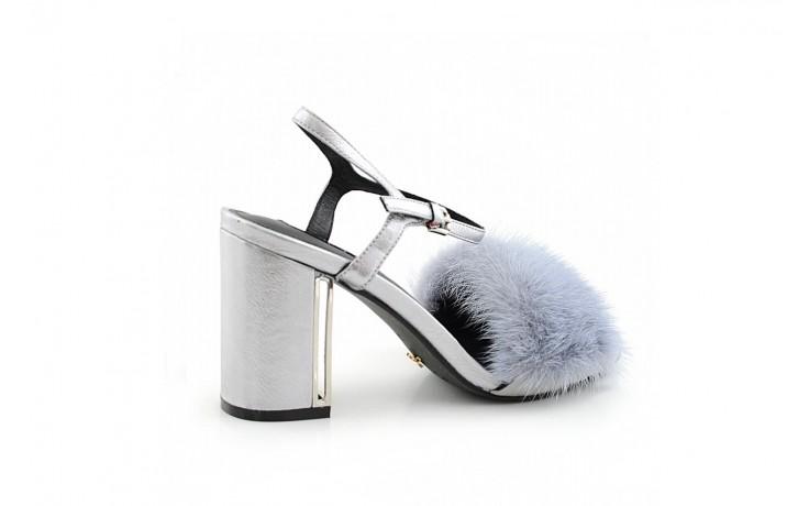 Sandały sca'viola e-15 grey, srebro, skóra/ futro naturalne - sca`viola - nasze marki 1